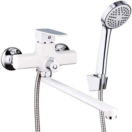 ZY-YY クラシック・ホワイトのシャワーの蛇口ロングスパウトバスタブ蛇口亜鉛合金タップセットバスタブレインシャワーミキサー