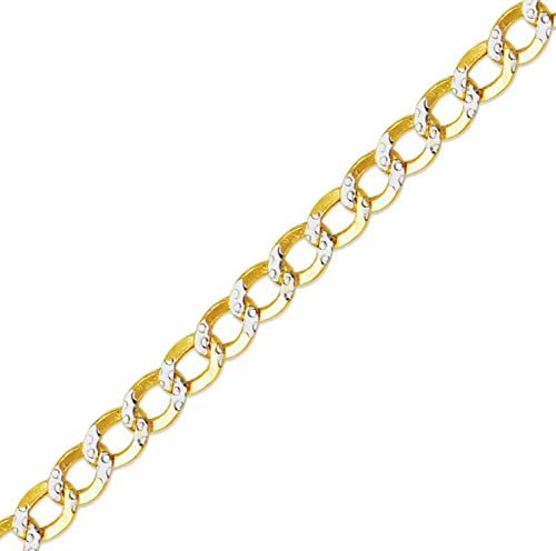 White Gold or White Pave Two Tone Gold Hollow Curb Chain Necklace 14K Gold 16, 18, 20, 22, 24, 26