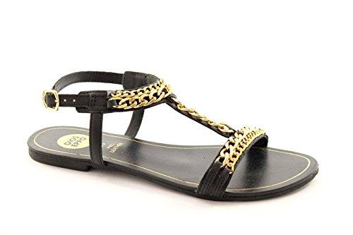 GIOSEPPO DENISE 27496 sandales noires chaîne de femme en cuir noir