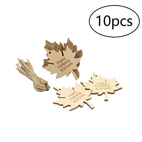 EBTOYS 10pcs Happy Thanks Giving Wooden Ornaments Maple Leaf Gift Tags with Jute Hangers