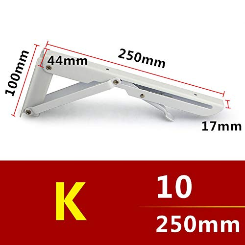 lightclub 2Pcs Wall Mounted Metal Folding Adjustable Triangle Angle Shelf Bracket Support for Shelving White 10 Screws (Twin Bracket Slot)