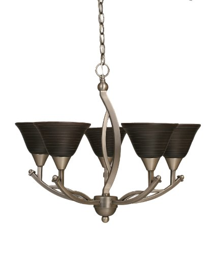(Toltec Lighting 275-BN-452 Bow Five-Light Uplight Chandelier Brushed Nickel Finish with Charcoal Spiral Glass, 7-Inch)