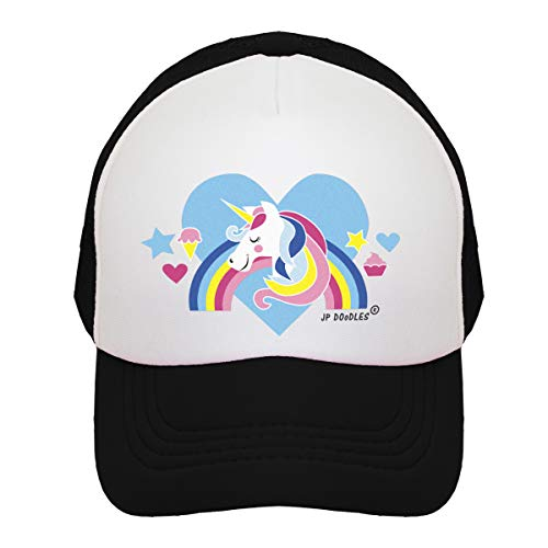 JP DOoDLES Unicorn on Kids Trucker Hat. The Kids Baseball Cap is Available in Baby, Toddler, and Youth Sizes.… (Black, ITTY Bitty (4-12)) ()