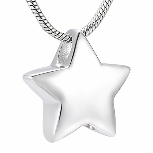 memorial jewelry Small Star Charm Cremation Urn Pendant Ashes Memorial Necklace for Woman Free Filling Kits Include ()