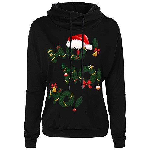 Moda Natale Cappuccio Felpa Neve 2 Donna Fiocco A Con Lunghe Stampa Maniche Elegante Da Semplice Black Maglione Di Glamorous Camicia IfTqI