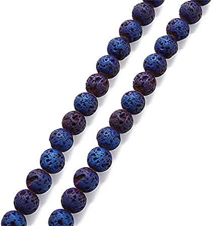 40cm//Strand 6mm Sapphire Blue Natural Stone Volcanic Lava Beads Round Rock Spacer Beads for DIY Jewelry Making