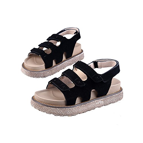 H&W Womens Real Leather Platform Heel Sandals 4.5CM Velcro Wear-Resistant Non-Slip Outsole Black I1u5EeOqo