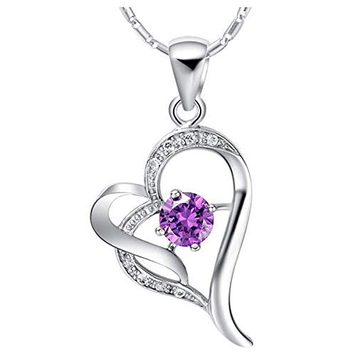 fashion jewelry accessories necklace pendant chain inlaid stone diamond clavicle children zircon crystal heart center (purple n632-
