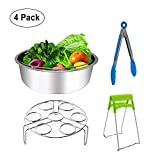 Steamer Basket Stainless Steel for Instant Pot Accessories 6 /8qt Pressure Cooker with Egg Steamer Rack,Bowl Dish Clip, Silicone Kitchen Tong- 4 Pieces