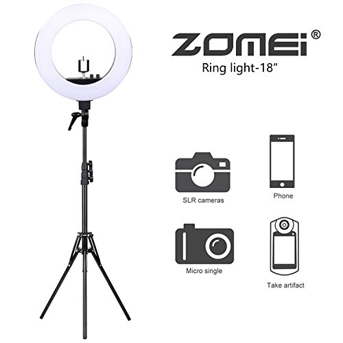 Zomei 18-inch LED Ring Light with stand Photography Makeup, Camera Photo Studio Video Shooting Heavy Duty Mount for DSLR, iPhone & Android Smartphones by ZOMEI