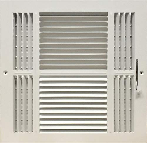 HBW 12x 12 (Duct Opening Size) 4-Way Stamped Face Steel Ceiling/sidewall Air Supply Register - Vent Cover - Actual Outside Dimension 13.75 X 13.75