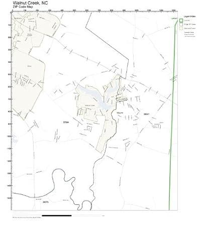 Amazon Com Zip Code Wall Map Of Walnut Creek Nc Zip Code Map Not