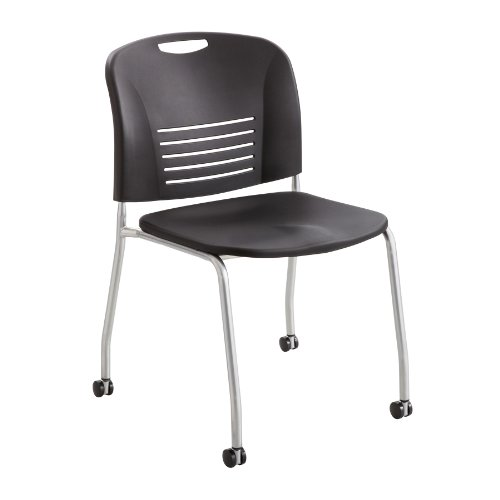 Safco Products 4291BL Vy Straight Leg Stack Chair with Casters, Black