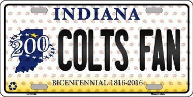 Colts Fan Bicentennial Indiana Background Novelty Metal License Plate (Sticky Notes)