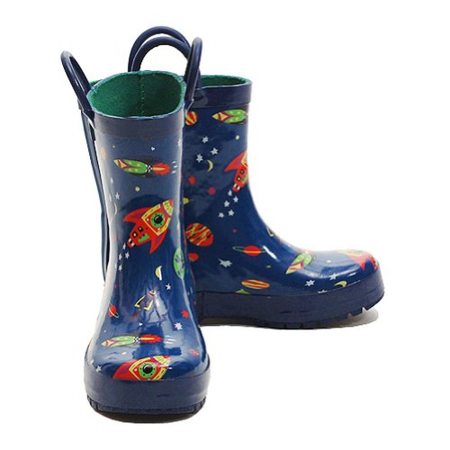 Pluie Pluie Blue Outerspace Rocket Little Boys Rain Boots 2 (Boot Rocket 2)