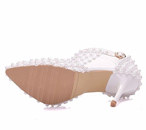 MSFS 35 Stiletto Größe Braut Perle 40 Absatz Bis Hochzeit Weiß Quaste Fesselriemen Damenschuhe frvxqfp
