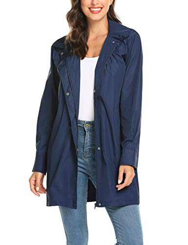 Ladies Raincoat, Women's Waterproof Hooded A Line Light Rain Jacket Outdoor Travel Navy Blue S