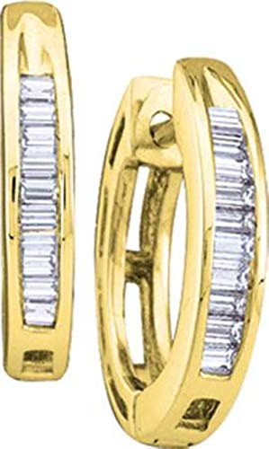 Aienid 14Kt Yellow Gold 0.15Ct Diamond Ladies Hoops