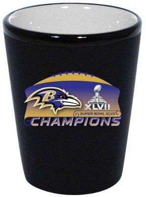 Baltimore Ravens Superbowl Super Bowl XLVII 47 Champions Champs Two Tone Ceramic Shot Glass