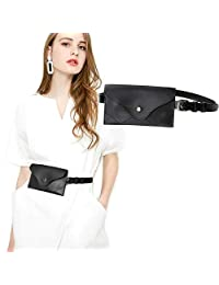 Womens Tassel Waist Pouch Fashion Belt Bags Trendy Fanny Pack, Fits Waistline 33-37 Inches, 2-Black