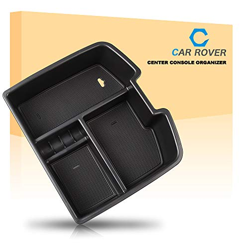 (CAR ROVER 2007-2014 Full Size GM Trucks Center Console Organizer Insert Tray for Chevrolet Avalanche Chevy Tahoe Silverado Suburban 1500 2500 GMC Sierra Pickup Truck Yukon & XL (Black, Pack of 1))