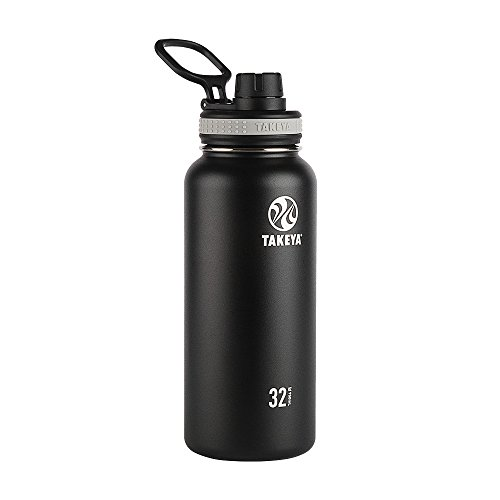 Takeya Originals Vacuum-Insulated Stainless-Steel Water Bottle, 32oz, Black