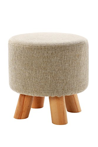 Ottoman Pouf Round Footstool Foot Rest With Removable Linen Fabric Cover, Beige - 11.42 x 11.42 Inches (Wooden Small Ottoman)