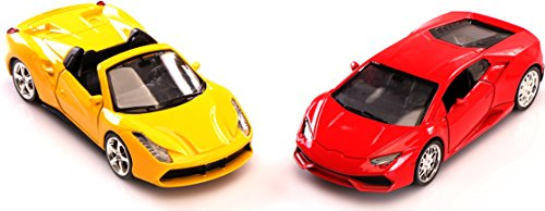 Die Cast Toy Cars Set of 2 Classy Sports Cars (Red and Yellow) on 1:36 Scale - By Utopia Home