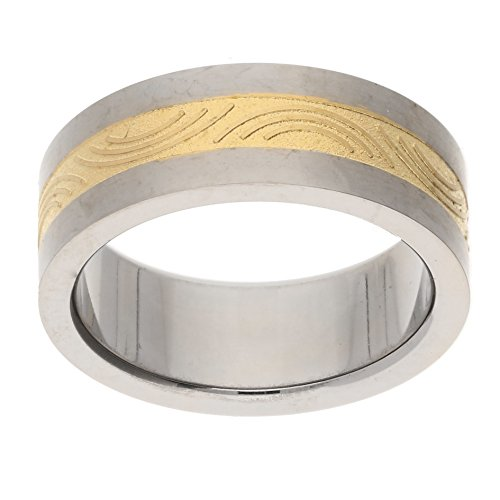 Gold Stripe Titanium Wedding Band (Womens and Mens 7mm Wide Two-Tone Gold Color Etched Stripe Center Brushed Finish Titanium Wedding Band Ring Size 12(Sizes 6,7,8,9,10,11,12))