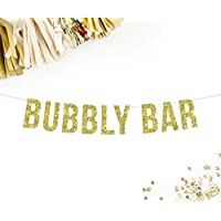 Bubbly Bar Banner, Gold Glitter   Wedding Decorations   Bachelorette Party   Birthday Party 21st birthday   Bridal Shower   Champagne