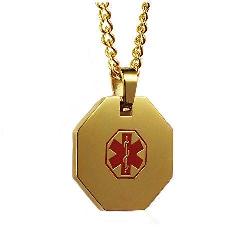 My Identity Doctor USA | Steel Gold Tone Medical Alert Necklace with Pendant | Free Custom Engraving for Diabetes Warfarin Dialysis Stroke Pacemakers 24in (61cm)