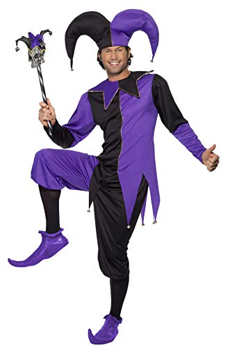 Smiffys Men's Medieval Jester Costume, Top with Attached Neck Piece, pants and Hat, Tales of Old England, Serious Fun, Size M, -