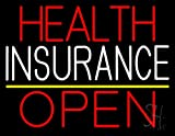 Health Insurance Open Neon Sign 24'' Tall x 31'' Wide x 3'' Deep