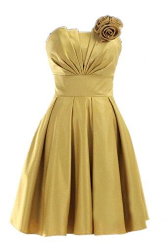 Homecoming Kleider Damen Fanciest Strapless Satin Teal 2016 Kurz Yellow Brautjungferkleider PYPxURn