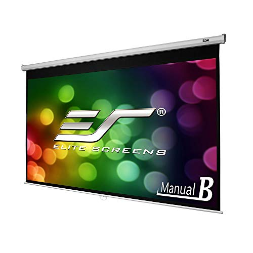 (Elite Screens Manual B, 100-INCH 16:9, Manual Pull Down Projector Screen 4K / 8K Ultra HDR 3D Ready with Slow Retract Mechanism, 2-YEAR WARRANTY, M100H (Renewed))