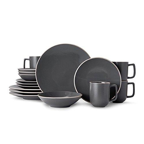 Grey Stoneware (Mikasa Leah Charcoal Stoneware Dinnerware Set for 4 - Case of 16)