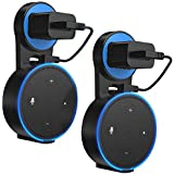 Vancle Outlet Wall Mount Holder Stand for Dot 2nd Generation, Smart Home Outlet Wall Mount Stand No Messy Wires or Screws Space-Saving for Bathroom Bedroom Kitchens-Black,2 Pcs