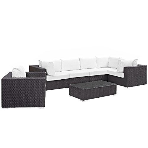 Modway EEI-2157-EXP-WHI-SET (7 Piece) Outdoor Patio Sectional Set, Seating for Five, Red