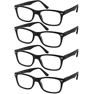 5fe07a71288 Reading Glasses Set of 4 Black Quality Readers Spring Hinge Glasses for  Reading for Men and