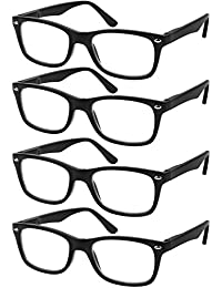 7abd7cbe8e2 Reading Glasses Set of 4 Black Quality Readers Spring Hinge Glasses for  Reading for Men and
