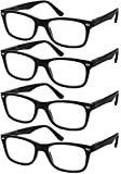 Reading Glasses Set of 4 Black Quality Readers Spring Hinge Glasses for Reading for Men and Women +1.5