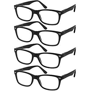 Reading Glasses Set of 4 Black Quality Readers Spring Hinge Glasses for Reading for Men and Women