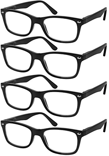 Reading Glasses Set of 4 Black Quality Readers Spring Hinge Glasses for Reading for Men and Women ()
