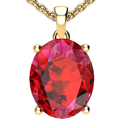 Belinda Jewelz Womens 14k Yellow Gold Oval Shape Cut Gemstone Rhodium Plated Sparkling Prong Real Sterling Silver Fine Jewelry Classic Chain Hanging Pendant Necklace, 2.8 Ct Created Ruby, 18 inch