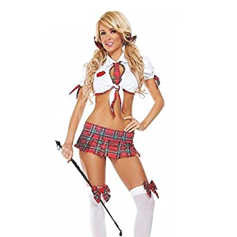 4e29cb2805a NEW WOMENS LADIES NAUGHTY SCHOOL GIRL HEN DOO FANCY DRESS PARTY OUTFIT  LINGERIE ROLE PLAY ADULT 8 - 10 UK  Amazon.co.uk  Clothing
