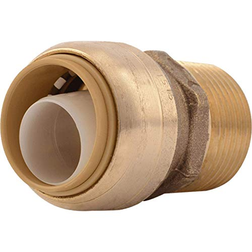 SharkBite U134LFA Straight Connector Plumbing, Male 3/4 in, MNPT, PEX Fittings, Push-to-Connect, Copper, CPVC, 3/4-Inch by 3/4-Inch