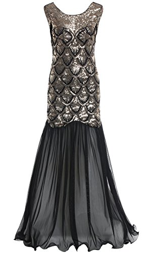BABEYOND Women's 1920s Long Dress Scale Beaded Sequin Maxi Prom Evening Dress (The Roaring 20s Fashion)