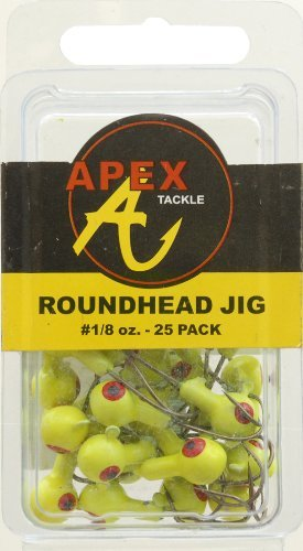 Apex Jig Heads (Pack of 25), Chartreuse/Yellow, 1/8-Ounce