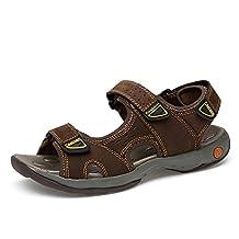 CLIDOU Men Leather Athletic Sport Sandal Flats Shoes Waterproof