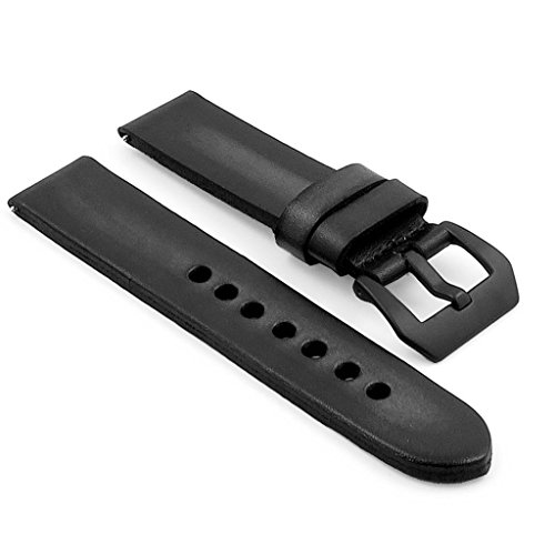 StrapsCo Vintage 4mm Thick Leather Watch Strap w/ PVD Matte Black Pre-V Buckle